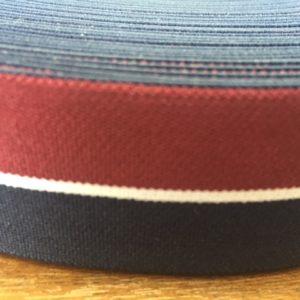 Резинка ткацкая 35мм (25м/рул) бордо/бел/т.синий (цвет №153)