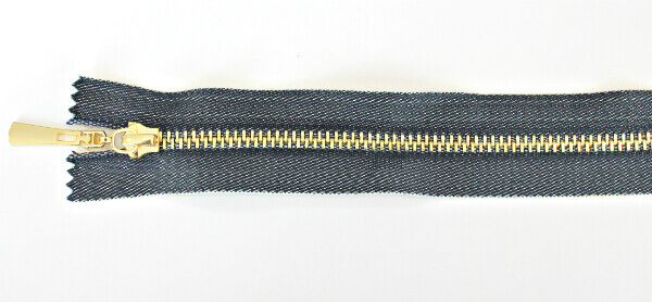 Молния декоративная №5 «под джинсу» звено-декоративное золото, 60 см, синяя тесьма