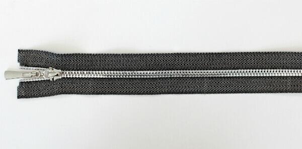 Молния декоративная №5 «под джинсу» звено-декоративный никель, 70 см, серебристо-черная тесьма