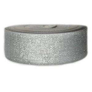 Резинка ткацкая 30мм (25м/рул) люрекс серое/серебро